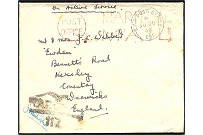 Ufrankeret On Active Service feltpostbrev stemplet R.A.F. Post Office 001 (= Reykjavik) d. 30.6.1943 til England. Rødt skibsstempel Post Office / Maritime Mail og sort RAF unit censur R.A.F. Censor 117.