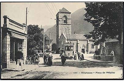 Villeneuve, Place de l'Hospital med sporvogn. No. 1299.