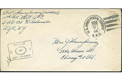 Ufrankeret free mail brev stemplet U. S. Army Postal Service APO 858 d. 7.10.1943 til Chicago, USA. Fra 11th Detachment North Atlantic Wing, Air Transport Command APO 858 = Narsarssuaq. Sort unit censor stempel no. 937.