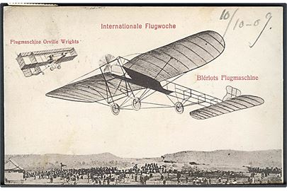 Internationale Flugwoche. Flugmaschine Orville Wrights. Blériots Flugmaschine. U/no.