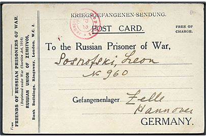 Ufrankeret fortrykt krigsfangekort fra Friends of Russian Prisoners of war i London d. 8.5.1917 til russisk fange i Celle, Tyskland. Rød lejrcensur.
