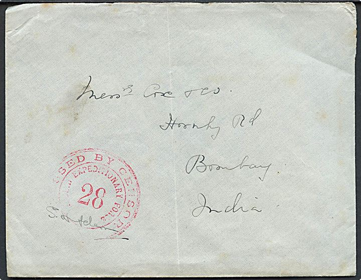 Ufrankeret feltpostbrev med indisk feltpost stempel F.P.O. 66 d. 7.5.1915 (= Port Tewfik, Egypten) til Bombay, Indien. Rødt censurstempel: Passed by Censor / Indian Expeditionary Force / 28.