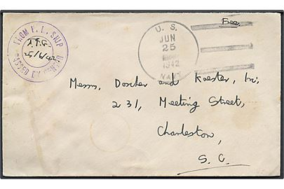 Ufrankeret flådepostbrev med stumt stempel U.S. Navy d. 25.6.1942 til Charleston, USA. Interessant censurstempel fra britisk skib: From H.M. Ship / Passed by Censor.