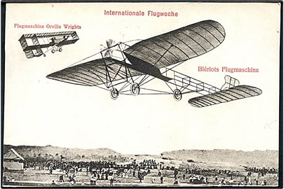 Fly. Internationale Flugwoche. Flugmaschine Orville Wrights & Blériots Flugmaschine. U/no.