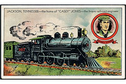 Tog no. 382. Jackson, Tennessee. The home of Casey Jones. The brave railroad engineer. Chamber of Commerce u/no.