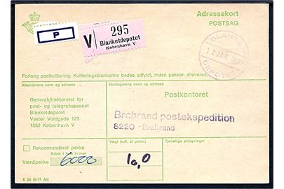Postsags adressekort for værdipakke med brotype IV gummistempel Blanket Depotet d. 12.1.1981 til Brabrand postekspedition.