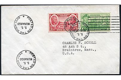 1 cent og 2 cents på filatelistisk skibsbrev annulleret Ship Mail Nassua d. 1.3.1937 og sidestemplet; Posted on the high seas S.S. Munargo til Braintree, USA.