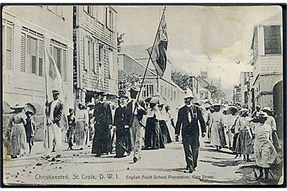 D.W.I., St. Croix, Christiansted. King Street med English Adult School Procession. J. Niles.