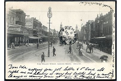 King William Street. Looking South. Adelaide. J. Taylor u/no. Frankeret med Western Australia 1d Black Swan stemplet Claremont W.A. d. 19.3.1906 via Freemantle til Oxford, England.