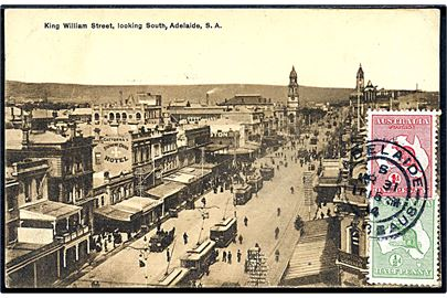 Australien. King William Street, looking South, Adelaide, S. A. Medd sporvogne. No. 52309.