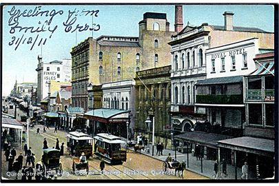 Australien. Queen Street. (Showing Courier Corner). Brisbane, Queensland. Med sporvogne. Coloured Shell Series Queensland Views. U/no.
