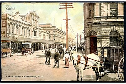 New Zealand, Christchurch, Cashel Street. Photocrom no. 51.