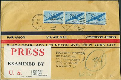 Amerikansk 90 cents frankeret luftpostbrev fra New York d. 11.5.1943 til Stockholm, Sverige. Censur label: Press Examined by 15004 U.S. og stempel Examined / by Censor / Postal Section / Ministry of Information.