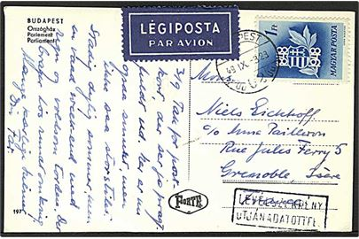 1 ft. 100 år for Revolution single på luftpost brevkort fra Budapest d. 3.9.1949 til Grenoble, Frankrig.