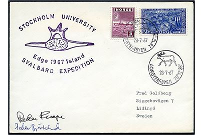 5 øre London udg. og 30 øre Sturlason på ekspeditionsbrev stemplet Longyearbyen d. 28.7.1967 til Sverige. Ekspeditionsstempel: Stockholm University Edge Island 1967 Svalbard Expedition.