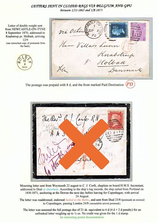 "2d plate 13 and 6d plate 8 Victoria on 8d franked double weight letter tied by duplex cds. Newcastle-on-Tyne/""545"" on 8.9.1870 endorsed ""via Ostende"" to Knabstrup pr. Holbæk, Denmark. Danish lapidar cds. Holbek on 12.9.1870. Ex. Mark Lorentzen."