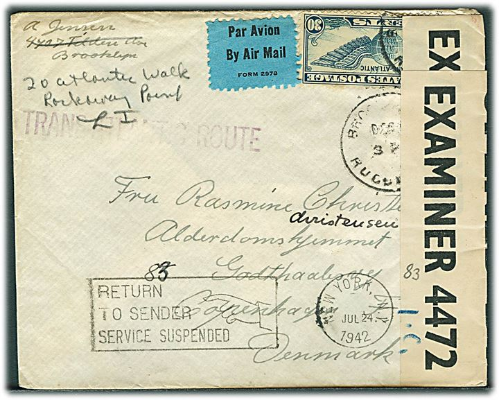 "30 cents Winged Globe på luftpostbrev fra Brooklyn d. x.12.1941 til København, Danmark. Åbnet af britisk censur på Bermuda PC90/4472 I.C. og returneret med stempel: Returned to sender / Service suspended""/New York d. 24.7.1942."