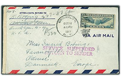 30 cents Winged Globe på luftpostbrev fra Brooklyn d. 12.12.1941 til Odense, Danmark. Åbnet af US censor no. 5024 med stort stempel Service Suspended Return to Sender ved Morgan Annex, New York.