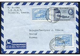 Græsk 400 dr. (2) og 1000 dr. på luftpostbrev stemplet Thessaloniki Avion d. 29.4.1952 til Tromsø, Norge. Sendt fra norsk telegrafist Magnus Nordmo tilknyttet FN-missionen UN/OHE under UNMOG (United Nations Military Observers in Greece). Sjælden FN-mission.