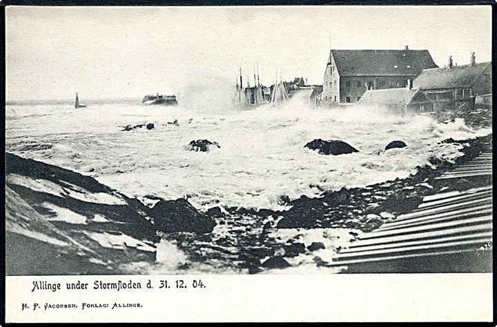 Bornholm. Allinge under Stormfloden d. 31.12.04. H. P. Jacobsen no. 3663.