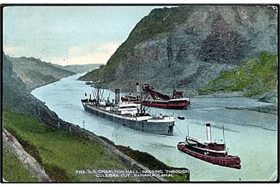 The S/S Charlton Hall passing throught Culebra Cut, Panama Canal. I. L. Maduro u/no.