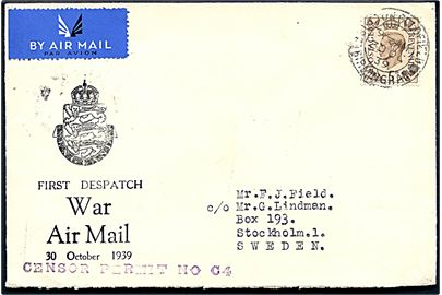 5d George VI på fortrykt luftpostkuvert First Despatch War Air Mail fra Sutton Coldfield d. 30.10.1939 til Stockholm, Sverige. Violet censurstempel: Censor Permit No. C4. Ank.stemplet i Stockholm d. 3.11.1939.