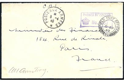 Ufrankeret britisk feltpostbrev stemplet Field Post Office 55 (British Expeditionary Force i Frankrig) via fransk feltpost Poste aux Armees d. 9.4.1940 til Paris, Frankrig. Unit censor no. 1957.