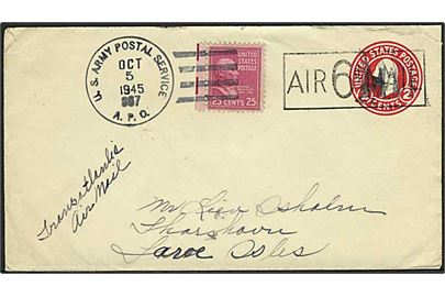 6/2 cents provisorisk helsagskuvert opfrankeret med 25 c. McKinley på luftpost brev stemplet U.S Army Postal Service APO 867 d. 5.10.1945 (= Vieux Fort, St. Lucia, British West Indies) til Thorshavn, Færøerne. Påskrevet: Transatlantic Air Mail.