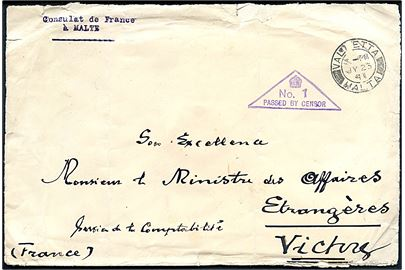 Ufrankeret diplomatbrev fra det franske konsulat på Malta stemplet Valetta Malta d. 25.7.1941 til Udenrigsministeriet i Vichy Frankrig. 3-kantet censurstempel No. 1 PASSED BY CENSOR og på bagsiden laksegl: DEPUTY CHIEF CENSOR MALTA.