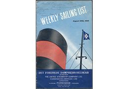 DFDS - Weekly Sailing List 1959. Illustreret sejlplan 18 sider.