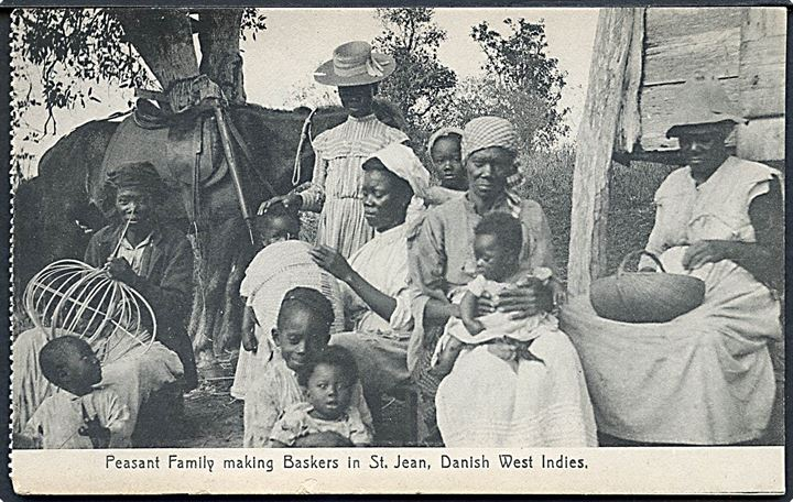 D.V.I., St. Jan, Peasant Family making Baskets. Lightbourn no. 82.