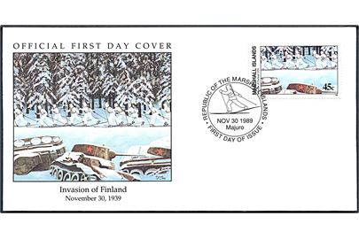 Marschall Islands 45 c. 50 års for Invasionen af Finland på illustreret FDC stemplet Majuro d. 30.11.1989.