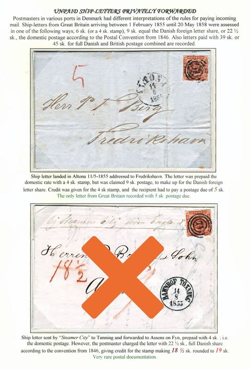 "Stampless unpaid ship-letter from Leith landed in Altona and forwarded with 4 sk. Dotted Spandrels tied by numeral ""113"" from Altona on 11.5.1854 to Frederikshavn, Danmark. Letter charged the Danish foreign letter share of 9 sk. – with a credit of the 4 sk. stamp – and endorsed ""5"" sk. postage due. Only recorded 5 sk. postage due letter from GB. Ex. Mark Lorentzen."