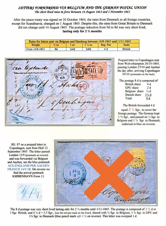 "4d Victoria plate 7 in pair on 8d franked letter tied by duplex cds. Wolverhampton/""905"" on 26.10.1865 endorsed ""via Ostende"" to Copenhagen, Denmark. Blue transit marking AUS ENGLAND PER AACHEN * FRANCO * on 28.10.1865. Rare short-lived postal 8d rate from 14.8. to 1.11.1865 – only 2½ months. Ex. Mark Lorentzen."