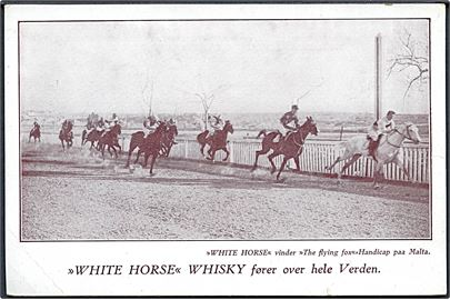 Malta hestevæddeløb. Reklame for White Horse Whisky. U/no.