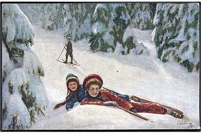 Winter Sports A Fall. Raphael Tuck & Sons Oilette no. 7828.