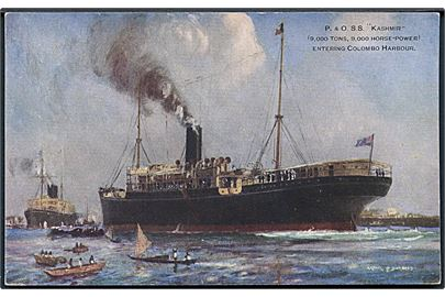 Kashmir, S/S, Peninsular and Oriental Steam Navigation Company ankommer til Colombo. U/no.
