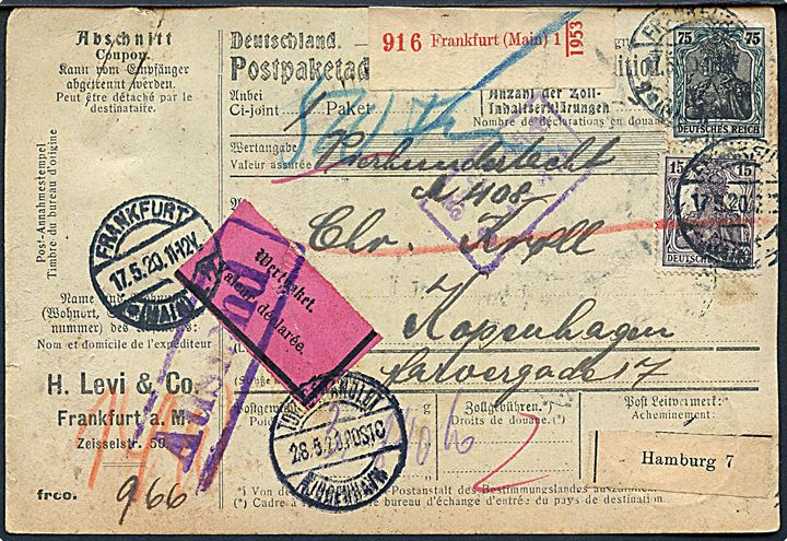15 pfg., 75 pfg. Germania og 1,50 mk. Reichspostamt i 9-blok på for- og bagside af internationalt adressekort for værdipakke fra Frankfurt d. 17.5.1920 til København, Danmark. Interessant brotype IIf Toldbehandlet Kjøbenhavn PostC d. 28.5.1920.