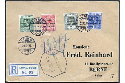 ½d, 1d, 2d og 2½d Togo Anglo-French Occupation provisorium på Gold Coast George V udg. på filatelistisk anbefalet brev fra Lome, Togo d. 28.12.1916 via London d. 13.2.1917 til Bern, Schweiz. Brevet tilbageholdt af den franske censur i Dieppe med 8-kantet stempel SAISI PAR L'AUTORITÉ MILITAIRE.