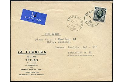 4d George V single på luftpostbrev annulleret British Post Office Tetuan d. 17.6.1938 via British Post Office Tangier d. 17.6.1938 til Frankfurt, Tyskland.