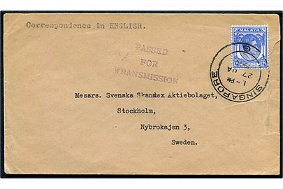 12 c. George VI på brev fra Singapore d. 27.1.1940 til Stockholm, Sverige. Censurstempel: Passed for Transmission. Rift i højre side.
