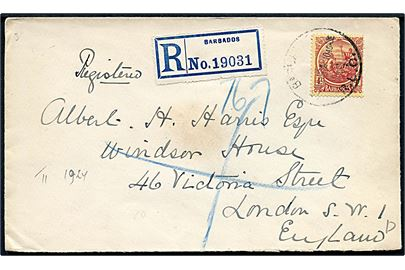 4d single på anbefalet brev fra Barbados d. 20.11.1924 til London, England.