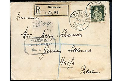 50 c. single på anbefalet brev fra Gersensee d. 17.12.1918 via London til German Settlement, Haifa, Palestine. Åbnet af britisk censur no. 4969 og ank.stemplet Field Post Office GM 1 (= Haifa) d. 21.1.1919 og 22.1.1919. Censurstempel: Palestine Censorship No. 1.