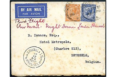 2d og2½d George V på luftpostbrev fra London d. 16.4.1930 til Bruxelles, Belgien. Påskrevet: Third Flight Air Mail - Night Service London-Brussels. Ank.stemplet i Bruxelles d. 17.4.1930.