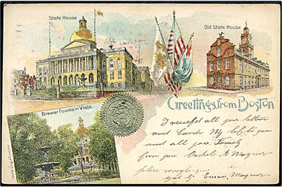 "USA, Boston, ""Greetings from"" med State House, Old State House og Brewer Fountain Vista. Armstrong u/no. Kvalitet 8"