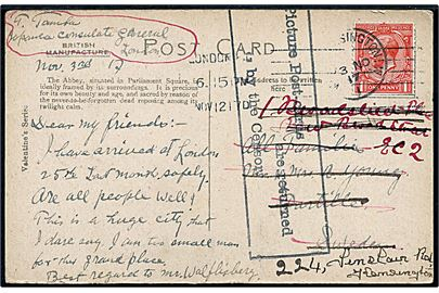 1d George V på brevkort (Westminster Abbey, London) sendt fra det japanske generalkonsulat og stemplet London d. 12.11.1917 til Partille, Sverige. Returneret med rammestempel: Picture Post-cards are returned by the Censor. Omadresseret i London.
