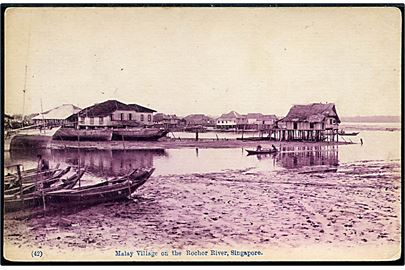 Singapore, Malaya Village on the Rochor River. No. 42.