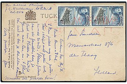 Ceylon 6 c. George VI i parstykke på brevkort dateret Colombo, Ceylon d. 12.11.194? til Holland. Annulleret med rødt britisk flådepost stempel Post Office / Maritime Mail. Sendt fra hollandsk officer i R.N.I.A. (Royal Netherlands Indies Army).