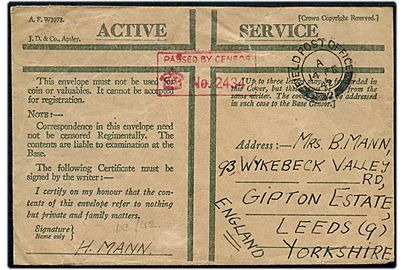 Ufrankeret britisk Honour Envelope med feltpoststempel Field Post Office 2 (= Reykjavik) d. 14.2.1942 til Leeds. Rødt unit censor stempel: Passed by censor no. 2434.