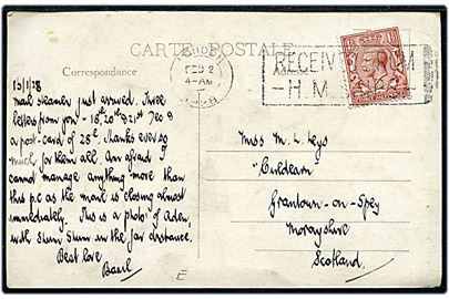 1½d George V på brevkort (Havneparti) dateret d. 15.1.1928 og annulleret London / Received from H.M.Ships d. 2.2.1928 til Scotland.